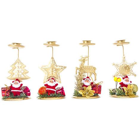 Candelabro de hierro de Navidad, 4 PCS / Set, Decoracion navidena