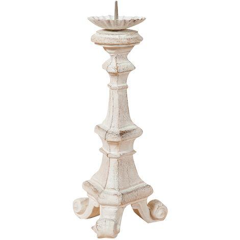 Candelabro de madera acabado con efecto blanco envejecido talla. Made in Italy