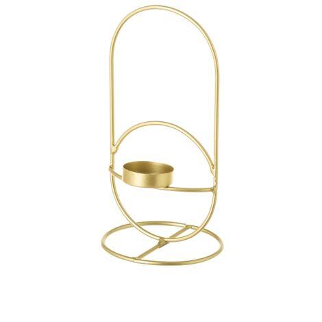 Candelabro portavelas contemporáneo mediano dorado de metalde 20x10x10 cm