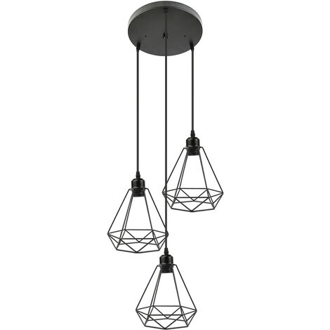 Candelabros colgantes retro industriales vintage 3 candelabros, base de pantalla de hierro E27 en forma de diamante, negro