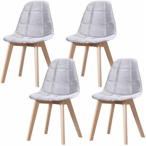 CANDICE - Lot de 4 chaises scandinave - Velours - Vert Menthe - pieds en bois massif salle a manger salon - 50 x 46 x 83 cm - Vert Menthe