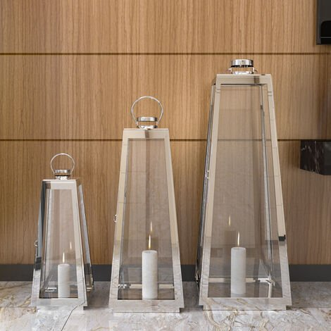 """main image of """"Candle Holder Floor Stainless Steel Lantern"""""""