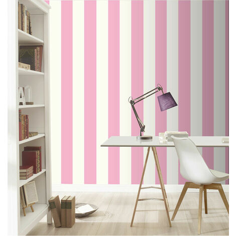 Candy Pink and White Stripes Bold Lines Stripe Wallpaper Kids Girls Nursery