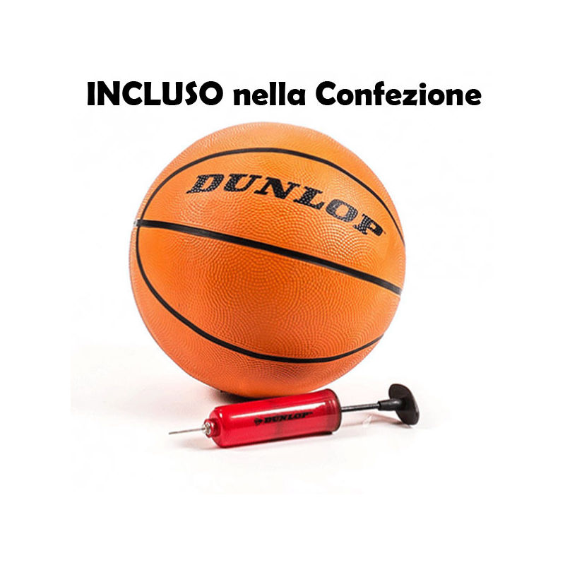 478e21c080bf Canestro BASKET con Piantana Tabellone REGOLABILE 205 CM + Pallone Pompa  DUNLOP