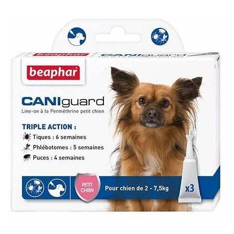 Caniguard, line-on à la perméthrine petit chien (2-7,5 kg) contre tiques, phlébotomes et puces - 3 x 2 ml