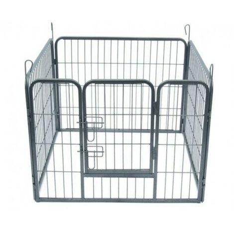 Canile Recinto Recinzione Box Metallo Cani Roditori Cuccioli 4 pannelli H 80 cm