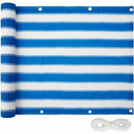 Canisse brise vue paravent pour balcon blanc/bleu 90 cm - Blanc