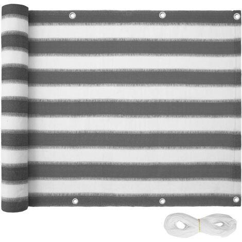 Canisse brise vue paravent pour balcon blanc/gris rayé 90 cm - Blanc