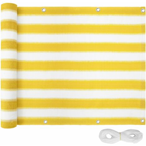 Canisse brise vue paravent pour balcon jaune/blanc 90 cm - Blanc
