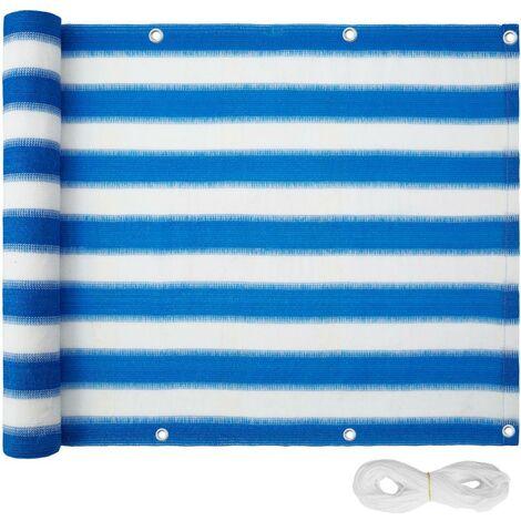 Canisse brise-vue pour balcon blanc/bleu 75 cm - Blanc