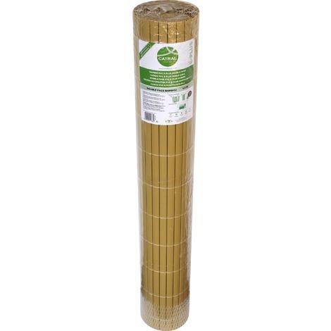Canisse double face en plastique Catral - Bambou - Longueur 3 m - Hauteur 2 m