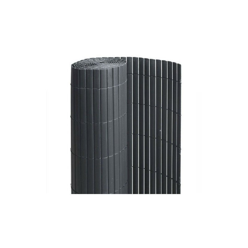 Canisse en PVC anthracite - 90% d'occultation, Long 15 m, Hauteur 1 m