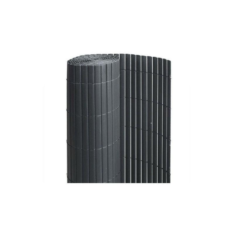 Canisse en PVC anthracite - 90% d'occultation, Long 15 m, Hauteur 1.80 m