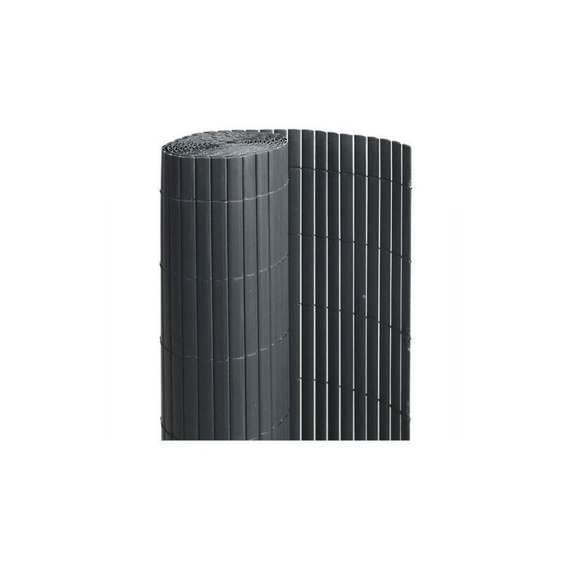 Canisse en PVC anthracite - 90% d'occultation, Long 18 m, Hauteur 1.20 m
