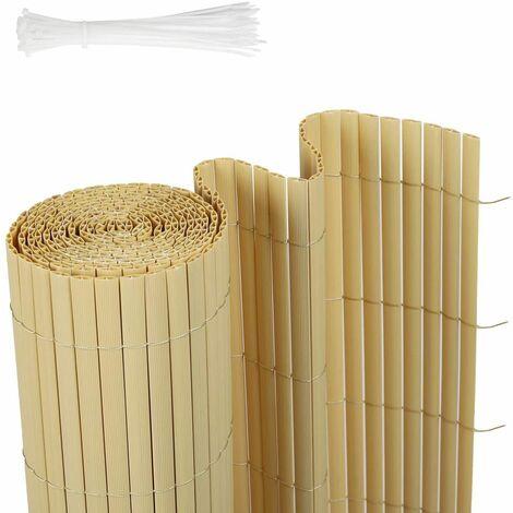 Canisse en PVC Brise Vue résistant 100 x 300 cm, Bambou
