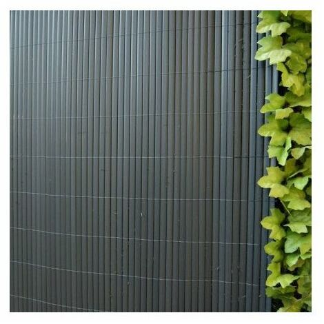 Canisse plastic 'ovale double face anthracite 1 m x 3 m