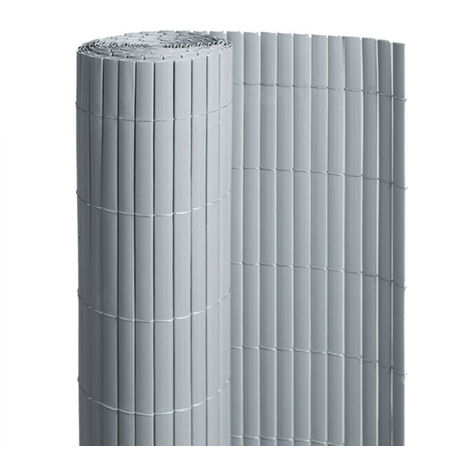 Canisse PVC double face Gris 18 m - 6 rouleaux de 3 x 1 m - Jardideco
