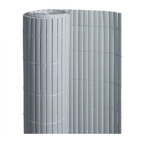 Canisse PVC double face Gris 6 m - 2 rouleaux de 3 x 1 m - Jardideco