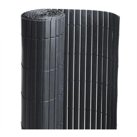 Canisse PVC double face Noir 6 m - 2 rouleaux de 3 x 1,20 m - Jardideco