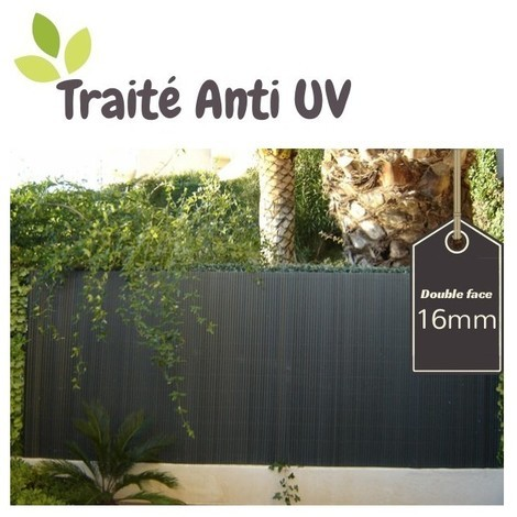 Canisse pvc gris anthracite double face 16mm