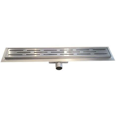 Canivau de douche 90 cm en acier inoxydable, écoulement pour canal de douche avec des fentes, accessoires inclus, salle de bain.