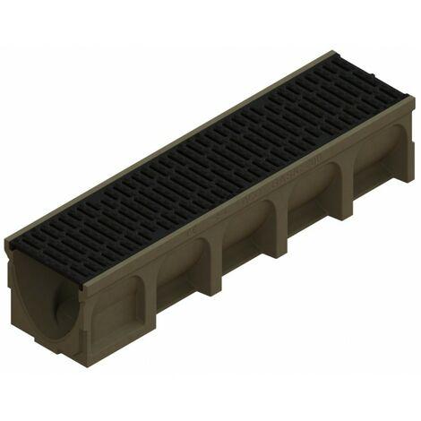 Caniveau Basicdrain en béton polymère - grille passerelle en fonte - C250 - ACO