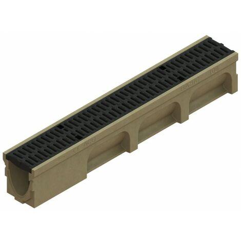 Caniveau Basicdrain - Hauteur 170 mm - ACO - Grille passerelle fonte à fente de 10mm - ACO