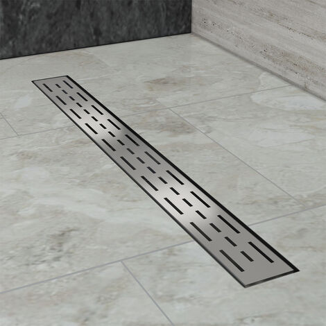 Caniveau de douche (50cm) Inox, Siphon de canal de douche avec pare-odeur et passoire à cheveux SIRHONA