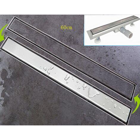 Caniveau de douche 60cm - evacuation d eau - siphon de sol - acier inoxydable - Argent