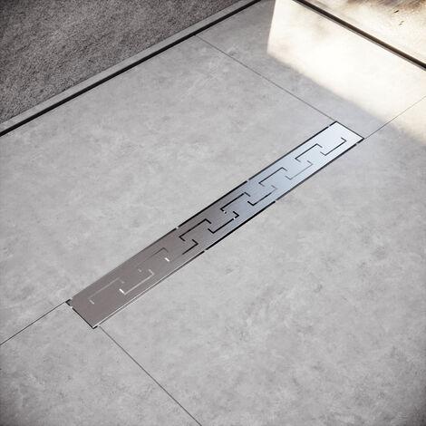 Caniveau de douche à l'italienne en (50-100cm) Acier Inoxydable modèle en E Siphon Sol d'évacuation - diverses Tailles au Choix Siphon avec passoire et arrêt des odeurs