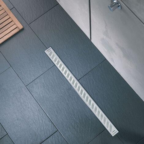 Caniveau de douche à l'italienne grille trait - Express'eau L.700 mm grille trait en inox brossé - Wirquin - 30719769