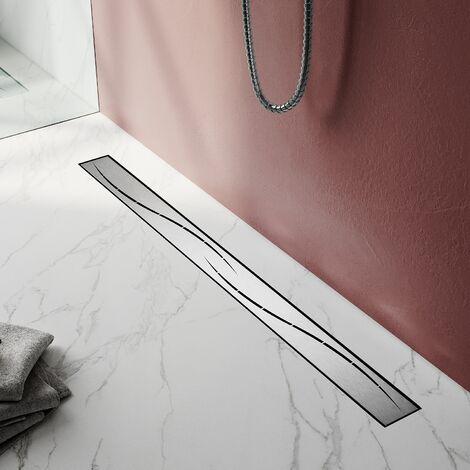 Caniveau de douche à l'italienneen modèle en S (50-100cm) Siphon Sol d'évacuation - diverses Tailles au Choix Siphon avec passoire et arrêt des odeurs Acier Inoxydable