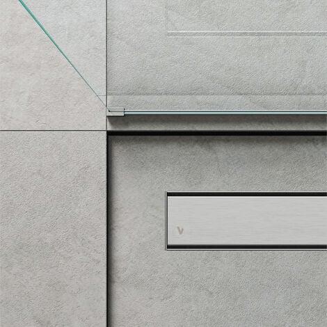 Caniveau de douche linéaire 120 x 7 cm. Acier inoxydable brossé (code 500.100.120)
