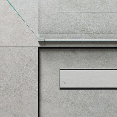Caniveau de douche linéaire 90 x 7 cm. Acier inoxydable brossé (code 500.100.090)