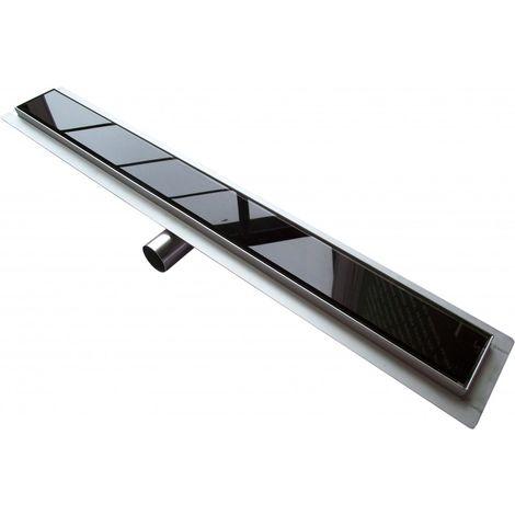 Caniveau de sol grand débit pour douche italienne GL01  - grille en verre noir - Longueur sélectionnable