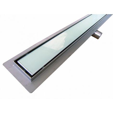 Caniveau de sol grand débit pour douche plain pied en verre blanc, GL02 - longueur sélectionnable