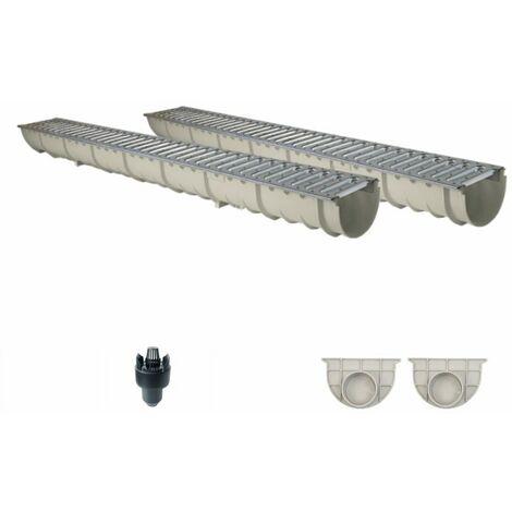 Caniveau MEAHOME de drainage polyester renforcé fibre de verre MEA Classic avec accessoires comme SET 2 mètres