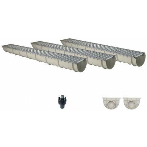 Caniveau MEAHOME de drainage polyester renforcé fibre de verre MEA Classic avec accessoires comme SET 3 mètres