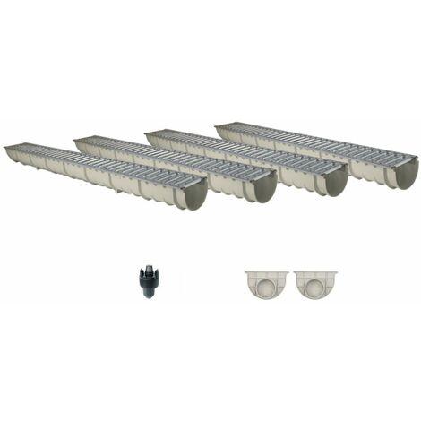 Caniveau MEAHOME de drainage polyester renforcé fibre de verre MEA Classic avec accessoires comme SET 4 mètres