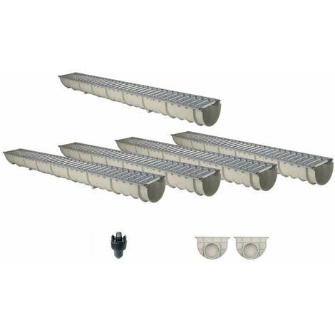 Caniveau MEAHOME de drainage polyester renforcé fibre de verre MEA Classic avec accessoires comme SET 5 mètres