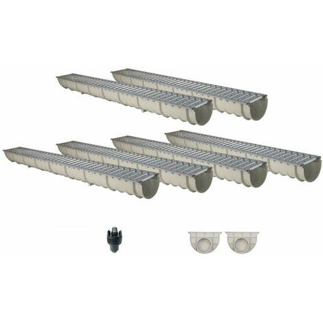 Caniveau MEAHOME de drainage polyester renforcé fibre de verre MEA Classic avec accessoires comme SET 6 mètres
