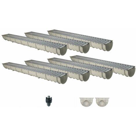 Caniveau MEAHOME de drainage polyester renforcé fibre de verre MEA Classic avec accessoires comme SET 7 mètres
