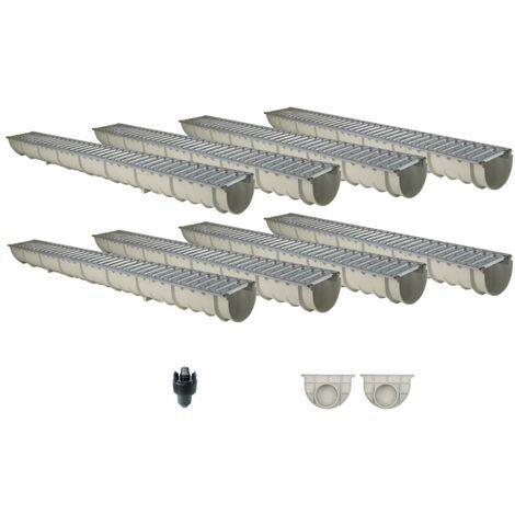 Caniveau MEAHOME de drainage polyester renforcé fibre de verre MEA Classic avec accessoires comme SET 8 mètres