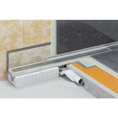 Caniveau pour douche à l'italienne sortie horizontale KERDI-LINE-H - Kit de caniveau en acier inox longueur 80cm hauteur 40cm