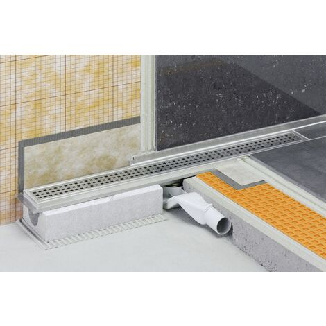 Caniveau pour douche à l'italienne sortie horizontale KERDI-LINE-H - Kit de caniveau en acier inox longueur 90cm hauteur 40cm