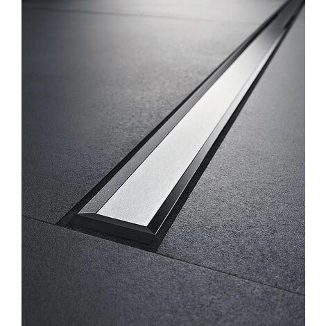 Canivelle de douche Cleanline20 300-1300mm, cadre inox revetement noir
