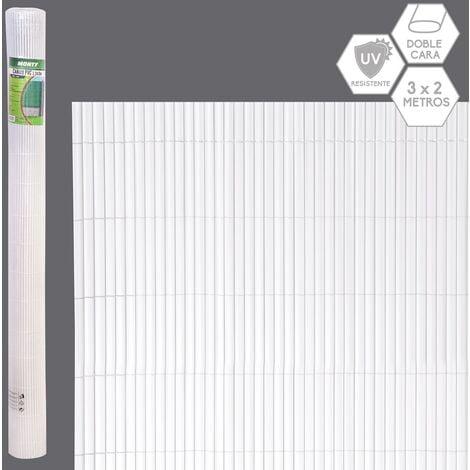 Cañizo artificial de PVC blanco de doble cara para ocultación de 3x2 metros