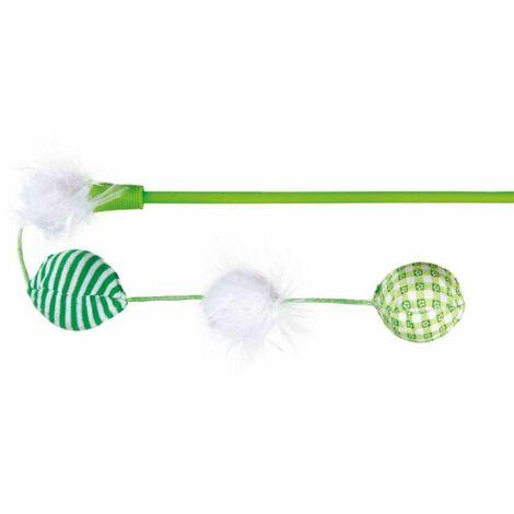 Canne à pêche balles, en plast/pel/tissu, catnip - 42 cm