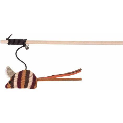 Canne à pêche en bois/tissu, catnip - 40 cm