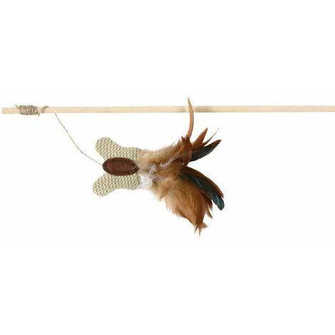 Canne à pêche papillon, plume, bois/jute, catnip - 45 cm